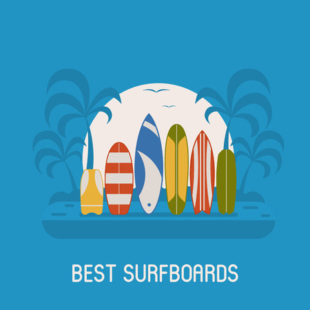 beach side: Surfing travel poster vector illustration. Different surf boards standing on tropical beache shore. Various surfboards on seashore side background. Summer beach landscape with colorful surfboard set. Illustration
