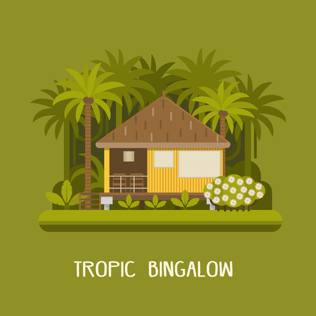 rafters: Summer house in tropic jungle. Wooden lodge among green palms. Romantic forest bungalow or small apartments building for rent or living. Timber cottage vector illustration.