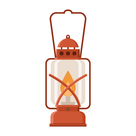 gas lamp: Vintage camping lantern isolated on white background. Retro gas lamp with glowing fire wick. Rustic tourist oil lantern vector illustration. Illustration
