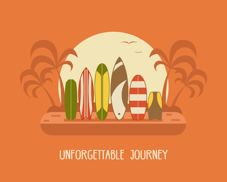 beach side: Surfing time poster. Different surfboard silhouettes standing on tropical beach landscape background. Various surfing desks on seashore side. Sea vacation or summer travel concept vector illustration. Illustration