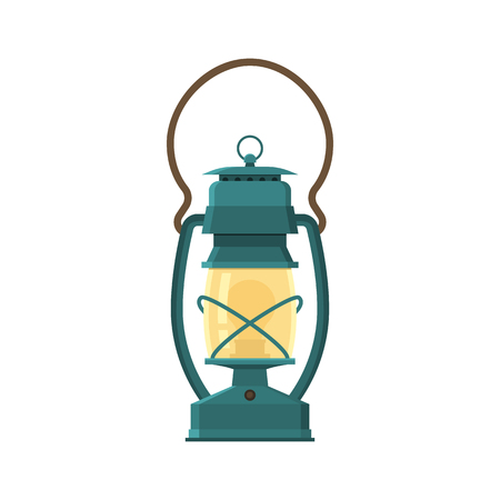 Vintage camping lantern isolated on white background. Retro gas lamp with glowing fire wick. Rustic tourist oil lantern vector illustration. Old lamp for hiking.