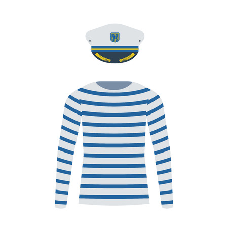 sleeved: Sea sailor wear vector set. Navy captain cap and striped long-sleeved t-shirt isolated on white background. Marine skipper hat and sailor shirt icons. Yacht officer outfit. Illustration