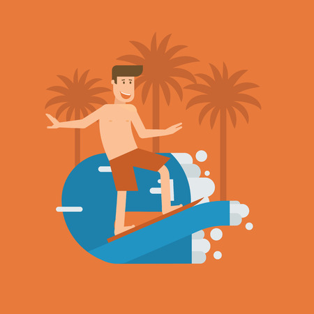 tide: Smiling surfer riding on the wave on tropical background. Smiling surfing man standing on surfboard. Surfer guy character moving on the tide splash. Young water sportsman illustration. Surfing poster.