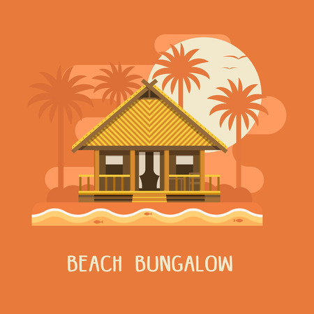 beach hut: Summer beach bungalow by sunset. Wooden villa suite on palms and sea background. Romantic tropic house or small straw hut for rent or living. Summer travel poster. Vacation in paradise concept.