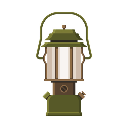 gas lamp: Vintage camping lantern isolated on white background. Retro gas lamp with glowing light. Rustic tourist oil lantern vector illustration. Old lamp for hiking.