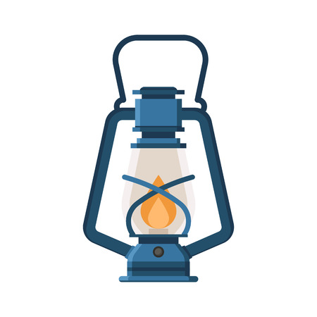 gas lamp: Vintage camping lantern isolated on white background. Retro gas lamp with glowing fire wick. Rustic tourist oil lantern vector illustration. Old lamp for hiking.