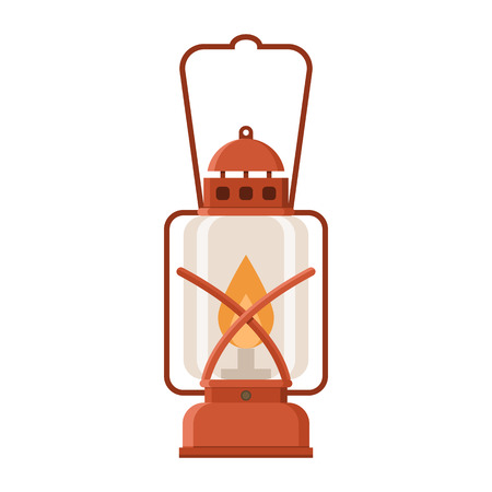 gas lamp: Vintage camping lantern isolated on white background. Retro gas lamp with glowing fire wick. Rustic tourist oil lantern vector illustration. Stock Photo