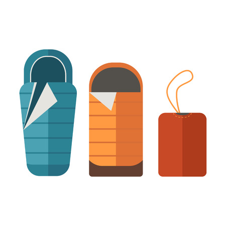 sleeping bags: Sleeping bags set. Camping tourist bedroll isolated on white background. Hiking equipment for sleep. Unrolled and rolled sleep bag vector pictogram in flat design. Illustration
