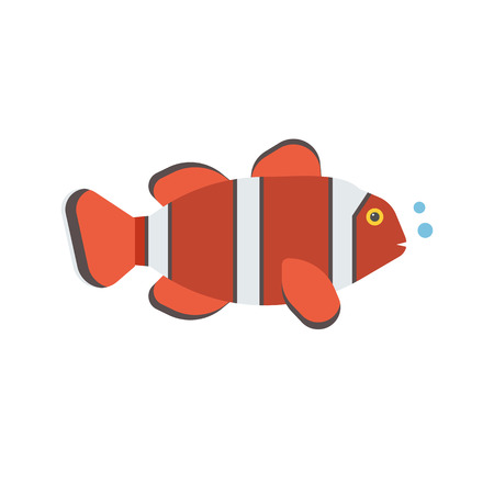 clownfish: Tropical red coral fish vector icon. Striped colorful clown-fish illustration.
