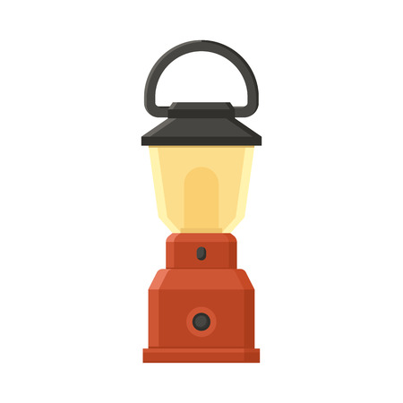diode: Vintage camping lantern isolated on white background. Modern lamp with glowing fire wick. Diode tourist lantern vector illustration. Old lamp for hiking.
