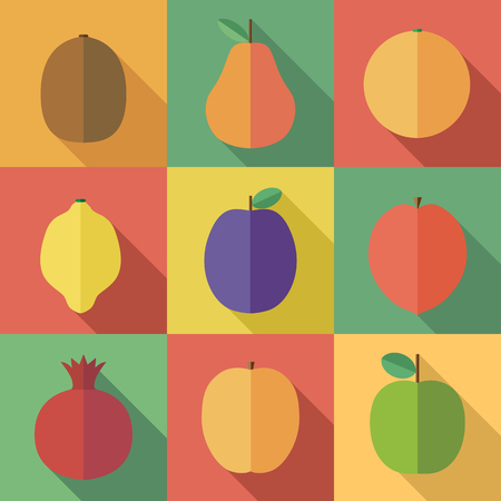 summer diet: Raw fruits set with long shadow. Fruitarian diet food vector icons. Different summer exotic fruits collection. Kiwi, pear, orange, lemon, plum, mango, pomegranate, peach and apple illustrations.