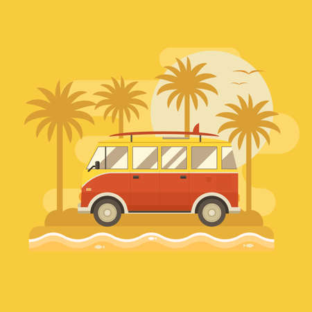 omnibus: Surfing bus on palm beach poster. Camper minivan summertime concept. Travel van old vintage red color with surfing board on sea coast. Tourist surf bus on tropical island background.
