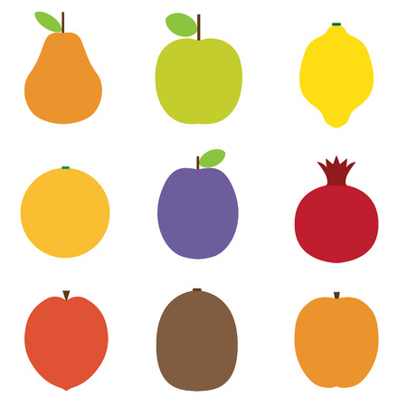 summer diet: Raw fruits set in flat design. Fruitarian diet food vector icons. Different summer exotic fruits collection. Kiwi, pear, orange, lemon, plum, mango, pomegranate, peach and apple illustrations. Illustration