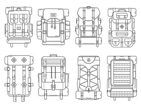 Wandelen rugzak in dunne lijn design. Toeristische retro rugzakken schetsen vector illustratie. Klassiek vormgegeven camping rugzakken met slaapzakken. Verschillende rugzak collectie voor wandelen en toerisme.