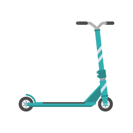 Push scooter vector illustration. Balance bike in green color isolated on white background. Kick cycle flat design icon. Modern city ecological transport. Ilustração