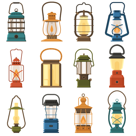 gas lamp: Vintage camping lantern set isolated on white background. Different oil lamp collection. Modern and retro lanterns vector illustration. Various handle gas lamps for tourist hiking.