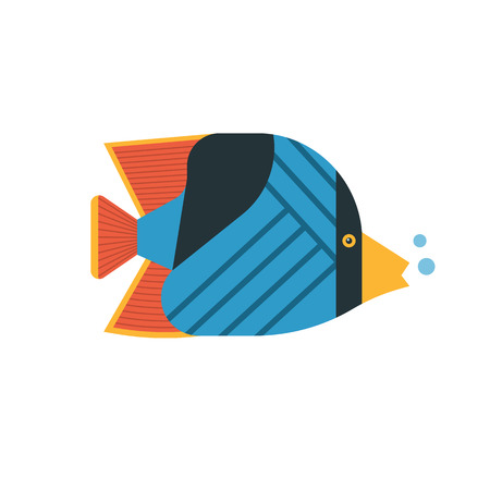 butterflyfish: Tropical marine fish vector icon. Striped colorful butterflyfish illustration. Coral fish illustration.