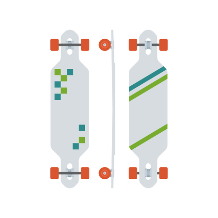 skatepark: Modern longboard from different sides. Long skateboard set with red wheels. Skateboarding lifestyle. Skate desk vector icon in flat design. Long board illustration. Stock Photo