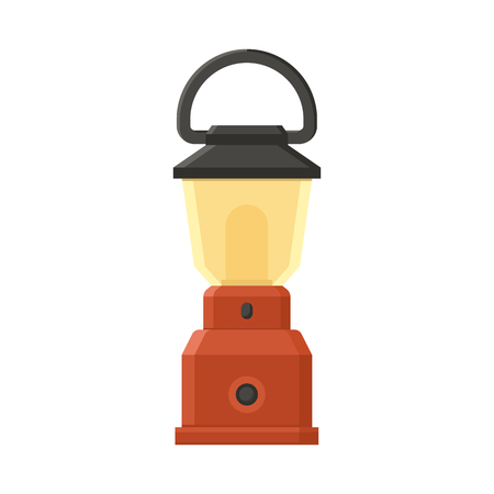 modern lamp: Vintage camping lantern isolated on white background. Modern lamp with glowing fire wick. Diode tourist lantern vector illustration. Old lamp for hiking.