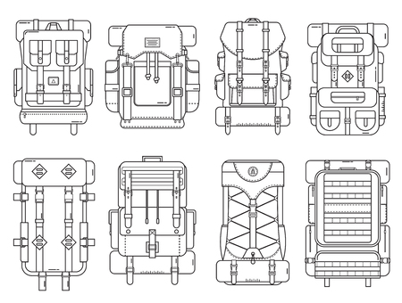 back pack: Hiking backpack set in thin line design. Tourist retro backpacks outline vector illustration. Classic styled camping backpacks with sleeping bags. Different back pack collection for hike and tourism.