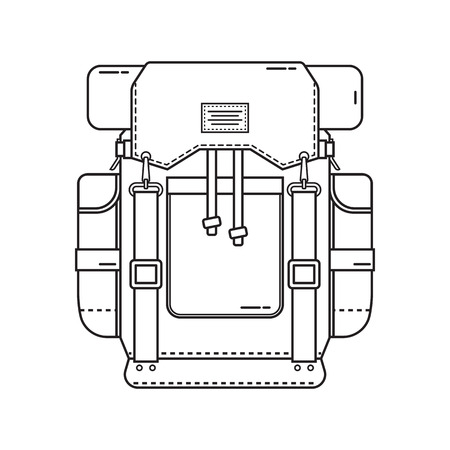 rucksack: Retro hiking backpack in thin line design. Tourist rucksack with sleeping bag. Camping backpack outline illustration. Hiking bag icon.