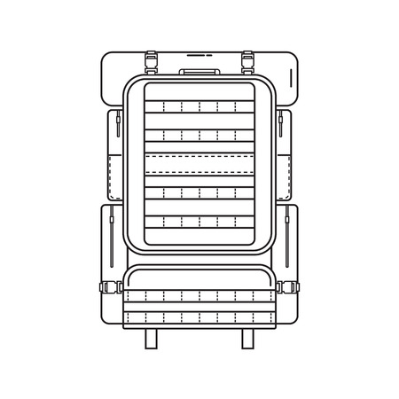 rucksack: Military style hiking backpack in thin line design. Tourist rucksack with sleeping bag. Camping backpack outline illustration. Hiking bag icon.