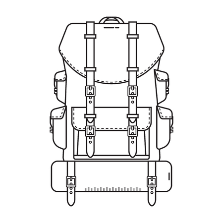 Retro hiking backpack in thin line design. Tourist rucksack with sleeping bag. Camping backpack outline illustration. Hiking bag icon.