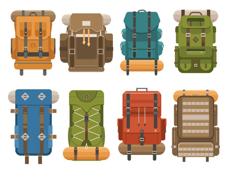 back pack: Camping backpack set in flat design. Tourist retro backpacks outline illustration. Classic styled hiking backpacks with sleeping bags. Back pack collection for hike and tourism. Hiking bag icon