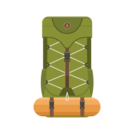 Large hiking backpack in flat design. Tourist rucksack with sleeping bag. Camping backpack illustration. Hiking bag icon. Illustration