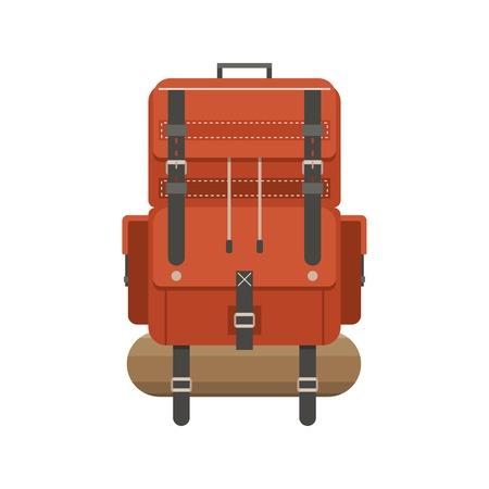 Retro Wanderrucksack In Flacher Bauweise Tourist Rucksack Mit Schlafsack Camping Illustration Wandern