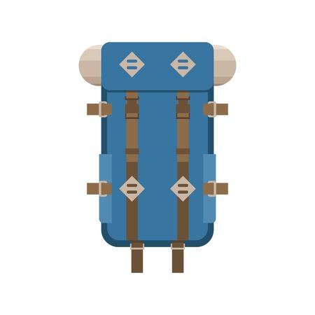 rucksack: Large hiking backpack in flat design. Tourist rucksack with sleeping bag. Camping backpack illustration. Hiking bag icon. Illustration