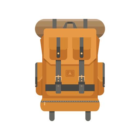 sleeping bags: Retro hiking backpack in flat design. Tourist rucksack with sleeping bag. Camping backpack illustration. Hiking bag icon. Illustration