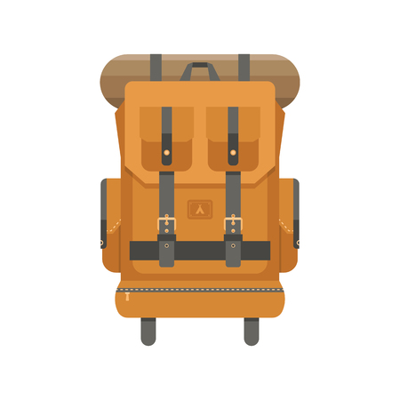 Retro hiking backpack in flat design. Tourist rucksack with sleeping bag. Camping backpack illustration. Hiking bag icon. Illustration
