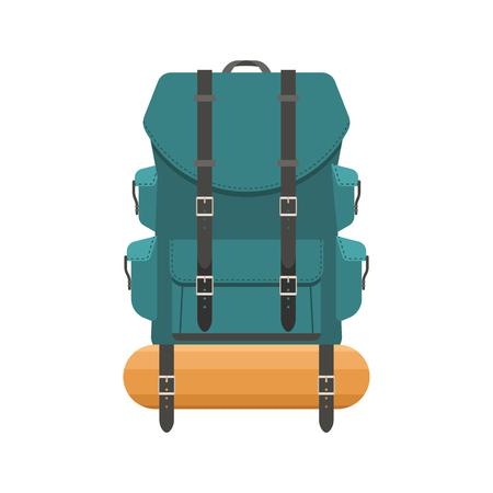 rucksack ': Retro hiking backpack in flat design. Tourist rucksack with sleeping bag. Camping backpack illustration. Hiking bag icon. Illustration