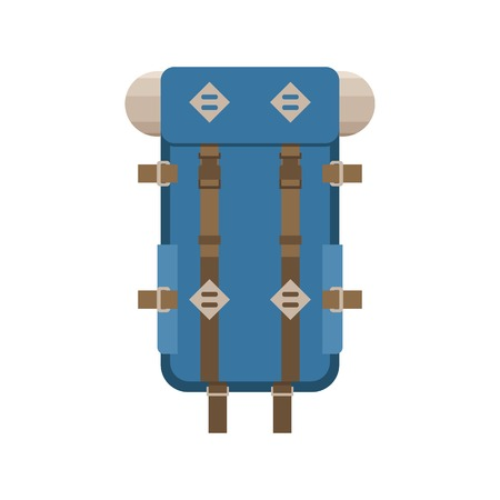 rucksack ': Large hiking backpack in flat design. Tourist rucksack with sleeping bag. Camping backpack vector illustration. Hiking bag icon.