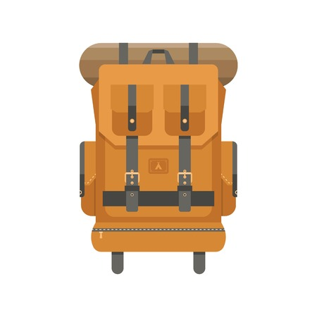 sleeping bags: Retro hiking backpack in flat design. Tourist rucksack with sleeping bag. Camping backpack vector illustration. Hiking bag icon.