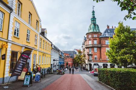 September, 23th, 2015 - pedestrian street in Hillerod, Denmark. Old scandinavian houses, restaurants and narrow street of cobblestones near Frederiksborg castle. Éditoriale