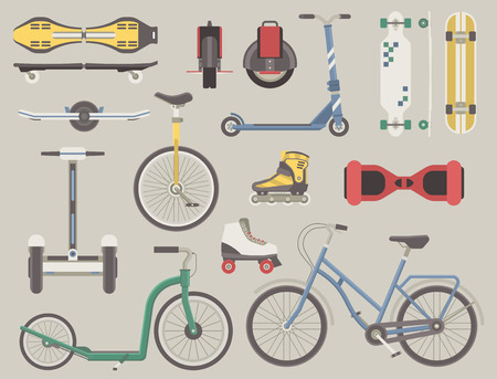 commute: Collection of alternative city transport. Urban wheels and bikes. Kick scooter, monowheel, bicycle, skateboard, longboard, gyroscooter, roller skates, balance board and seagway. Eco transport set. Illustration