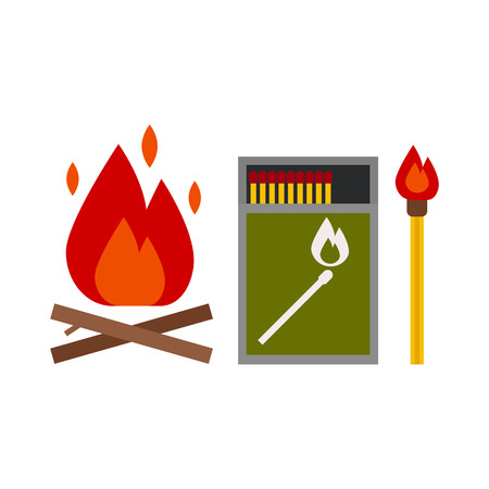 starter: Fire starter kit. Matchbox, matchstick and bonfire vector icons. Illustration
