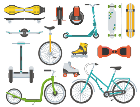 alternative transport: Collection of alternative transport. City wheels and bikes. Kick scooter, monowheel, bicycle, skateboard, longboard, gyroscooter, roller skates, balance board and seagway. Eco vehicles set.