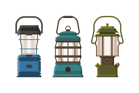 gas lamp: Vintage diode lantern set isolated on white background. Different camping lamp collection. Modern lanterns vector illustration. Various handle gas lamps for tourist hiking.