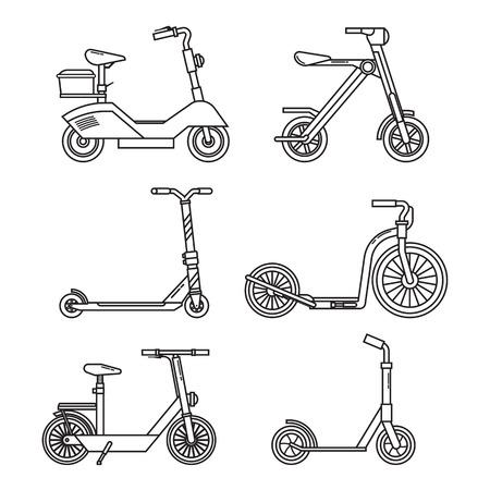 킥 스쿠터 세트. 자전거 균형. 다양 한 스쿠터 에코 대체 도시 교통입니다. 얇은 라인 디자인의 자전거 및 롤링 휠. 벡터 푸시 스쿠터와 전기 스쿠터 컬 일러스트