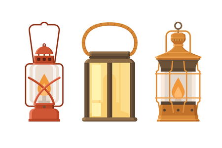 gas lamp: Vintage oil lantern set isolated on white background. Different camping lamp collection. Modern and retro lanterns vector illustration. Various handle gas lamps for tourist hiking.