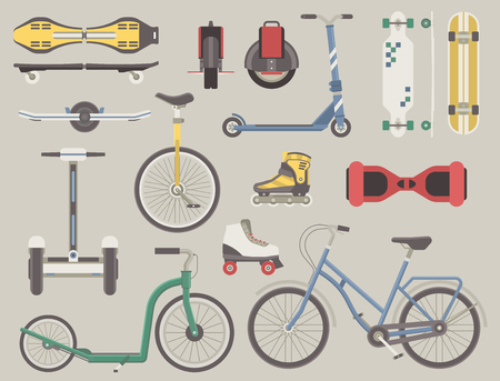 alternative transport: Collection of alternative city transport. Urban wheels and bikes. Kick scooter, monowheel, bicycle, skateboard, longboard, gyroscooter, roller skates, balance board and seagway. Eco transport set. Stock Photo