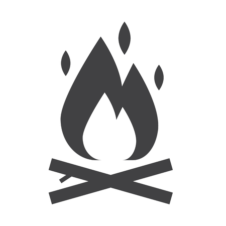 Camping fire outline icon. Bonfire vector silhouette. Campfire isolated on white background. 向量圖像