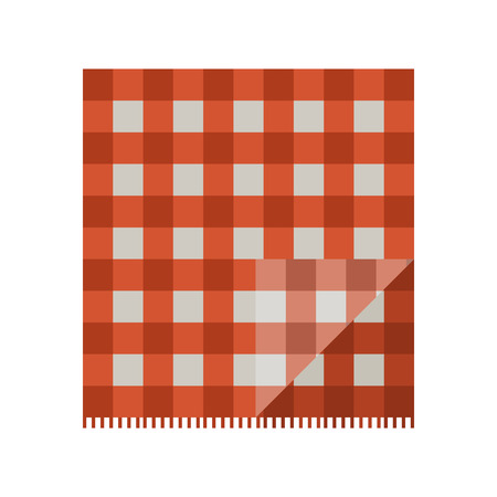 picnic cloth: Colorful red folded picnic cloth vector illustration.