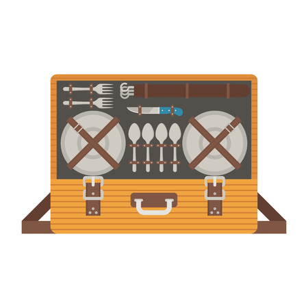 opened bag: Portable picnic bag hamper vector illustration. Opened picnic case with dishware and flatware. Stock Photo
