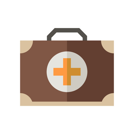 emergency case: Medicine chest vector icon. Doctor emergency case illustration. Flat medicine chest with cross isolated on white.