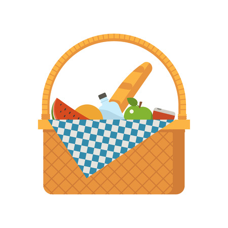 Wicker picnic basket vector illustration. Opened food hamper bag vector illustration.