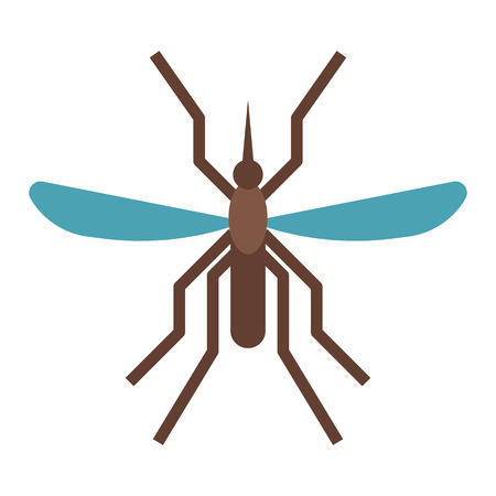 Mousquito flat design icon. Bloodsucking midge vector illustration.